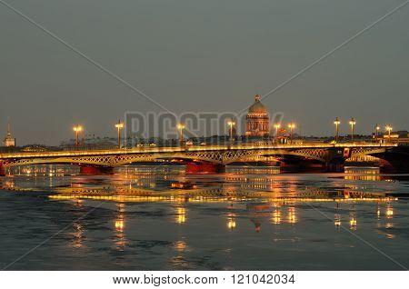 Blagoveshchensky Bridge Across The Neva River.