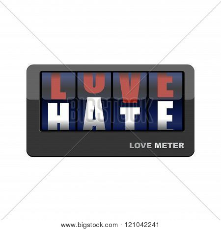 Love Meter. Love And Hate. Mechanical Scoreboard With Letters. Love Gives Way To Hatred.