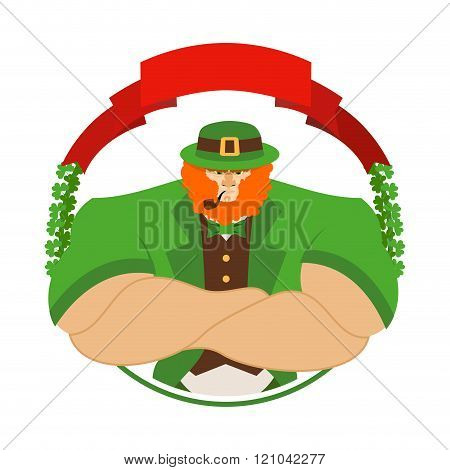 Happy Patrick Day. Angry Leprechaun In Green Hat. Serious Big Leprechaun With Smoking Pipe. Logo For