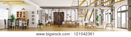 Modern loft apartment interior panorama 3d render
