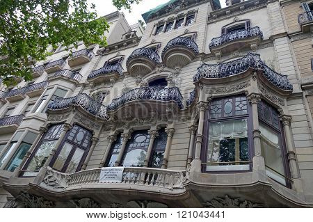 BARCELONA, SPAIN - JULY 31, 2015: View of one incredible and modernistic apartment building in Barcelona, Spain