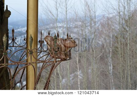 Belokurikha/Russia - february 2016: Sculpture of chipmunk on the top of Tserkovka mountain in the vicinity of the resort Belokurikha Altay Russia.