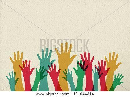 Colorful Hands Illustration Teamwork Concept