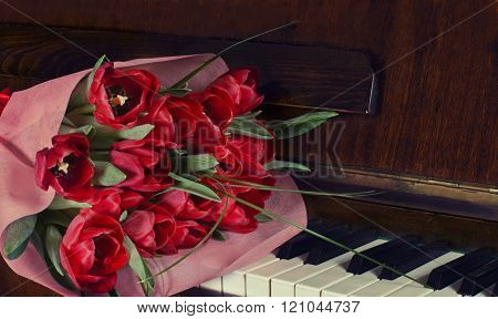 Bouquet Of Tulips On The Piano