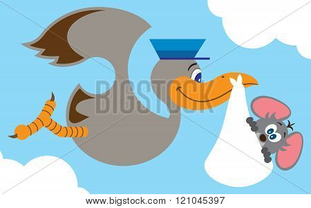 Flat Vector Stork with Baby Mouse