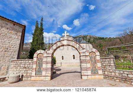 Entrance Of Podmaine Monastery In Budva, Montenegro