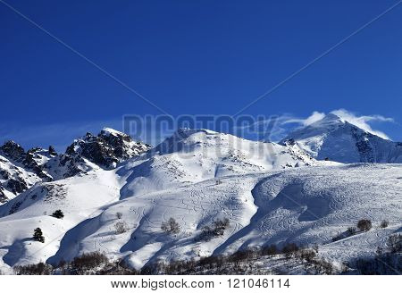 Mount Tetnuldi And Off-piste Slope With Track From Ski And Snowboard
