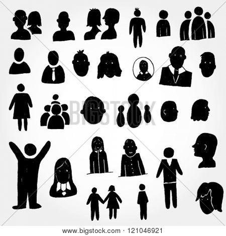 Black Icons of Human Hand Drawn