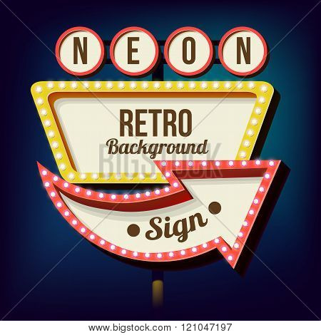Vintage Night 3D advertising sign