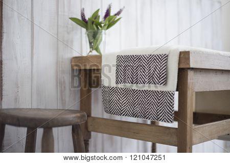 Pair Of White Towels With Black Herringbone Design