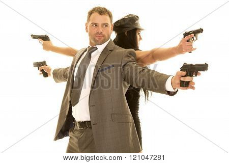 A man and woman with their backs to each other, with pistols pointed out.