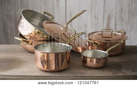 A Collection Of Copper Cookware