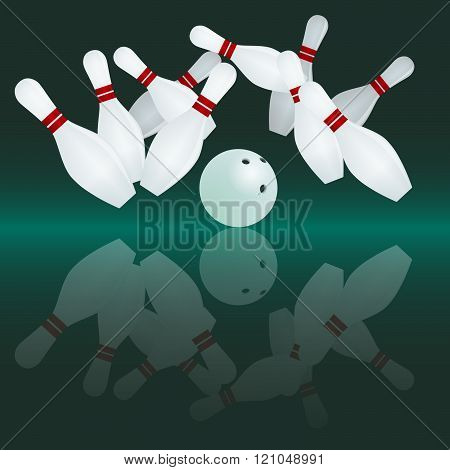 White bowling ball is making a strike. Ten tenpins in the air.