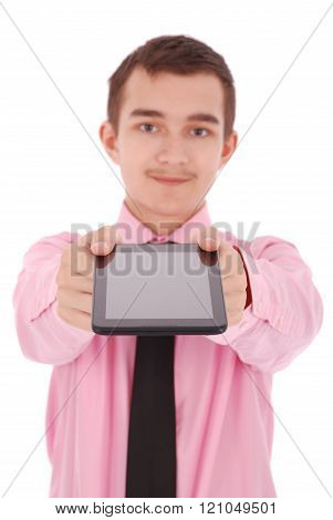 Boy In A Pink Shirt Hold A Tablet Pc