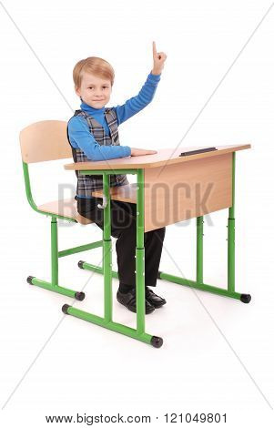 Boy Raising Hand To Ask Question
