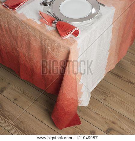 Set Dinnerware On Table With Gradient Orange Zigzag Design Tablecloth
