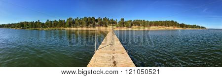 Panorama of Lake Pier on a Sunny Summer Day in Scandinavian Camping Grounds
