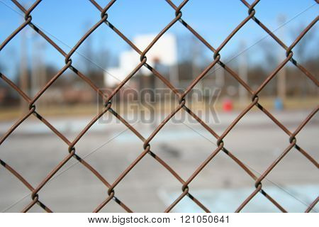 Basketball Court Through Fence