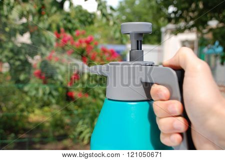Male Hand Holding Spray Bottle