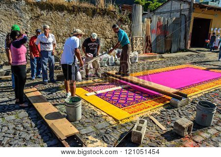Group Making Lent Carpet, Antigua, Guatemala