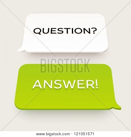 Vector flat chat bubbles. Plastic or paper material with perspective. Question and answer illustration.