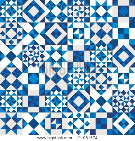 Vector geometric ceramic texture made of blue, navy and white pieces. Portugal style seamless pattern.