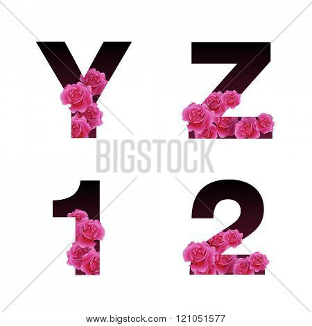 Vector trendy font with flowers growing through the letters. Latin alphabet in uppercase.