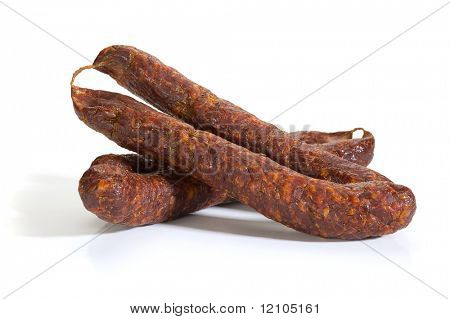 Image of a sausage studio isolated on white background