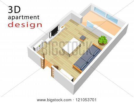 3d isometric floor plan for apartment. Modern isometric living room interior.