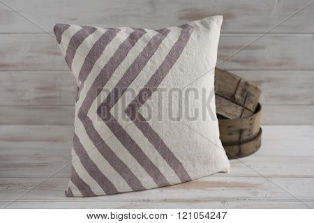 Square White With Gray Chevron Throw Pillow  With Wooden Basin