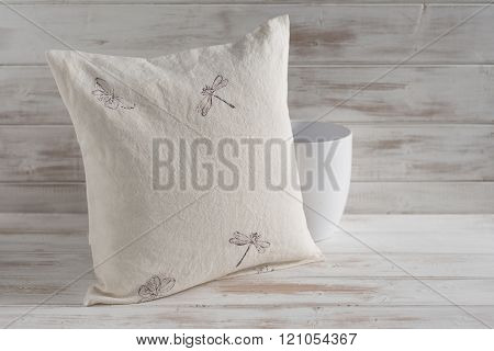 Square White Throw Pillow With Dragonfly And Butterfly Imprint
