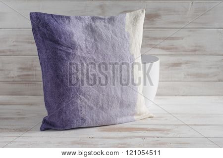 Square Gradient Purple Throw Pillow And Empty Vase