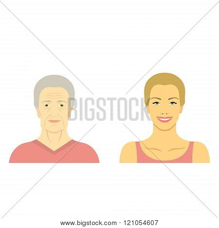 Woman Face Before And After Aging. Young Woman And Old Woman With Wrinkles. The Same Person In Her Y