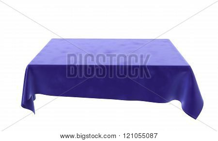 Blue Velor Rectangular Tablecloth For The Table Isolated On White Background