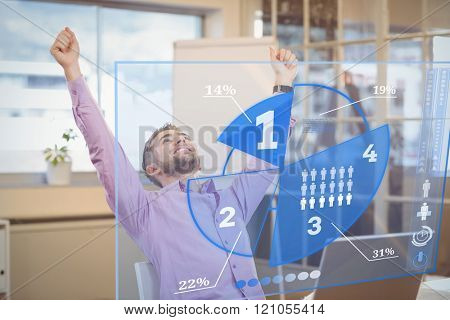 Futuristic interface pie chart interface against businessman with arms raised looking up