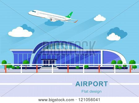 Flat design concept of detailed airport building with airplane