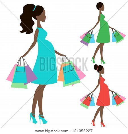 Vector Of Modern Pregnant Mommy With Vintage  Baby Carriage, Online Store, Logo, Silhouette, Sale Ic
