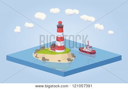 Lighthouse and tugboat