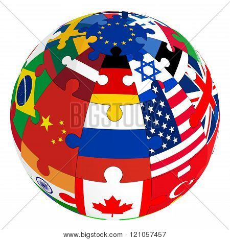 Sphere from a puzzle with images of country flags