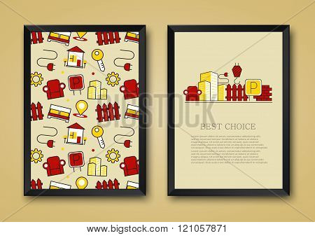 Vector modern background of flat real estate