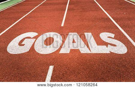 Goals written on running track