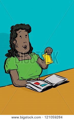 Cartoon illustration of smiling middle aged adult female holding photo at table