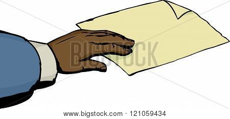 Hand Taking Paper On White Background