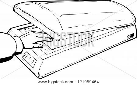 Outline Sketch Of Hand Placing Paper In Scanner
