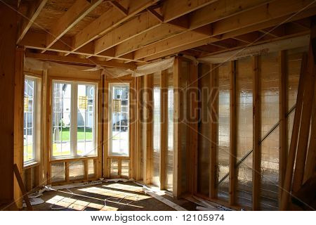 Roughed In Interior with new windows in a new home
