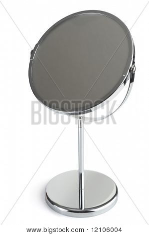 Silver cosmetic mirror studio isolated on white background