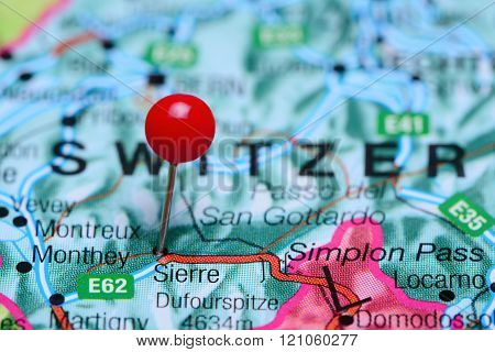 Sierre pinned on a map of Switzerland