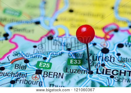 Luzern pinned on a map of Switzerland