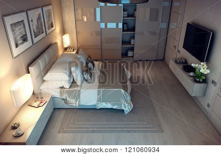 3D rendering evening bedroom house in the forest
