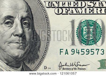 Hundred dollar bill closeup , U.S. dollar